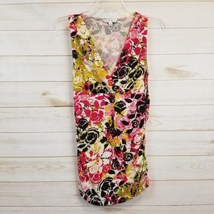 CAbi 404 Floral Rose sleeveless wrap top